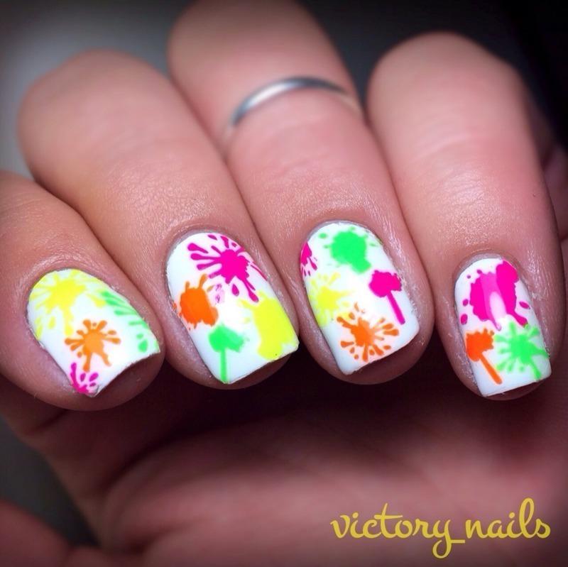 Neon drippy splatters nail art by Nicole
