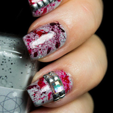 Blood Splatter nail art by  Petra  - Blingfinger
