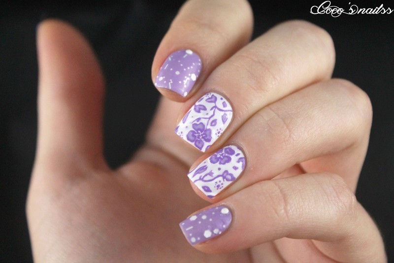 White and lilac nail art by Cocosnailss