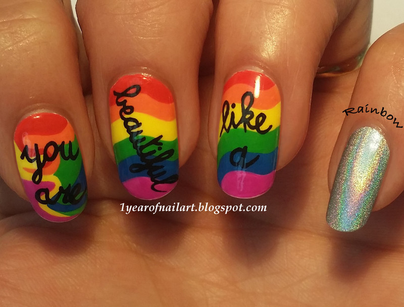 You are beautiful like a rainbow nail art by Margriet Sijperda