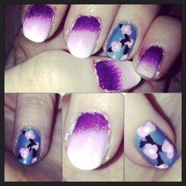 Cherry blossom  nail art by Kathleen