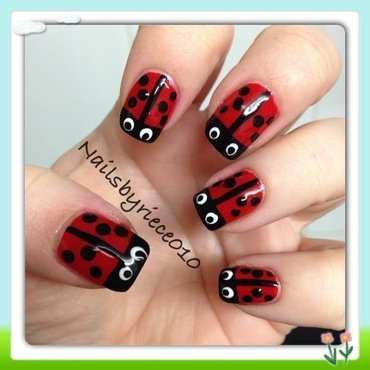 Ladybugs nail art by Riece