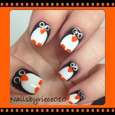 Penguins nail art by Riece
