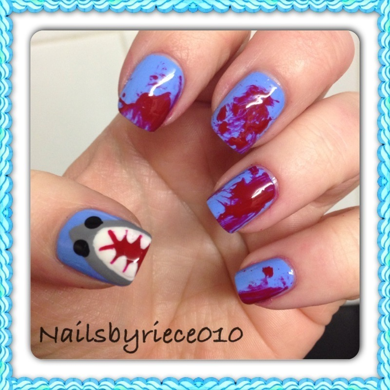 Shark Attack nail art by Riece