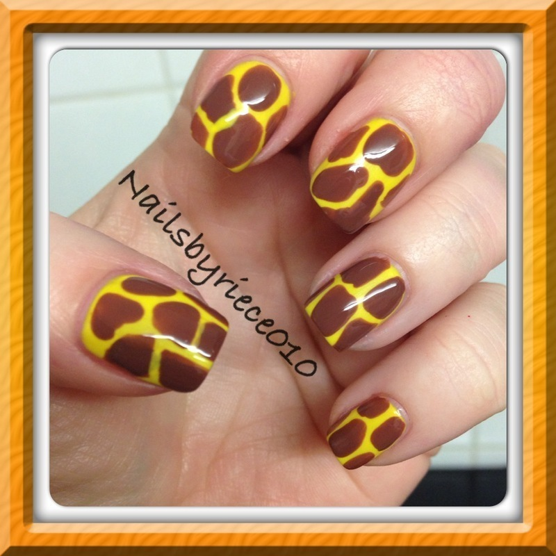Giraffe Print nail art by Riece
