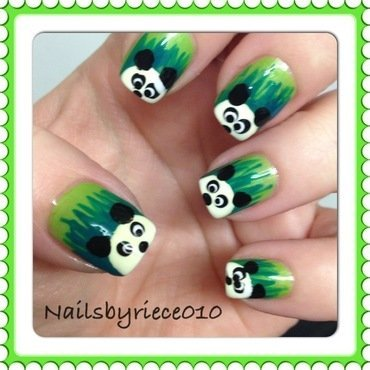 Panda Nails nail art by Riece