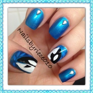 Orca Whales nail art by Riece