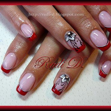 Red French & Flowers nail art by Radi Dimitrova
