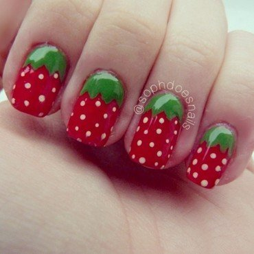 Strawberries! nail art by sophdoesnails -
