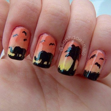 Africa Sunset nail art by sophdoesnails -