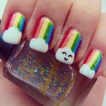 Happy Rainbow Clouds nail art by sophdoesnails -