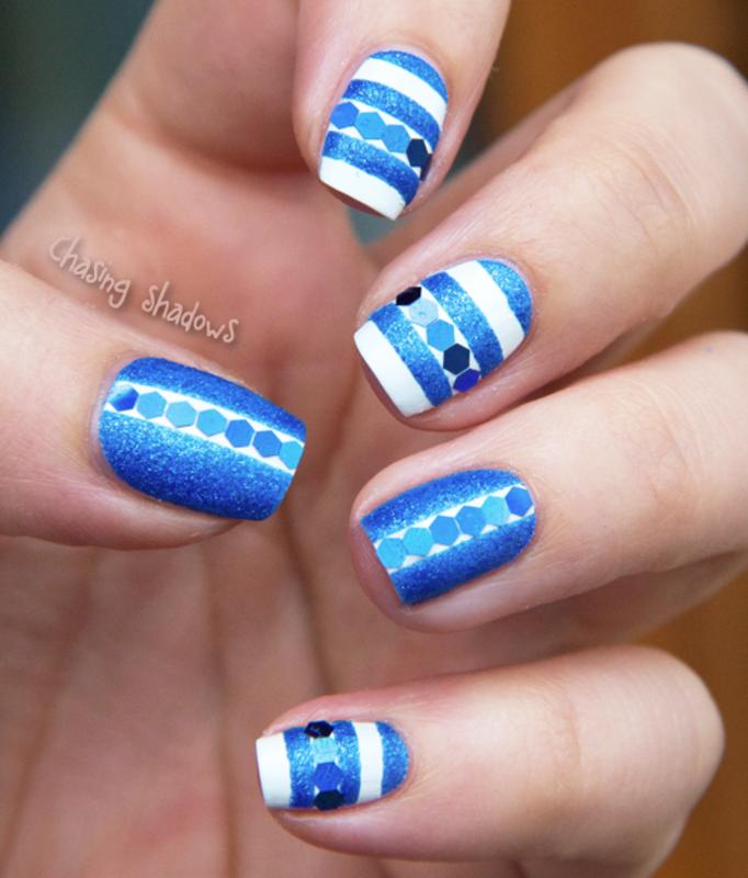 Blue sand nail art by Chasing Shadows