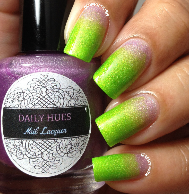 Green and Purple Gradient nail art by Amber Connor
