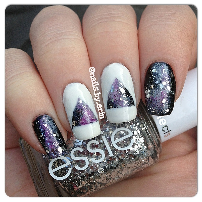 Galaxy Triangle Accent Nails nail art by Erin