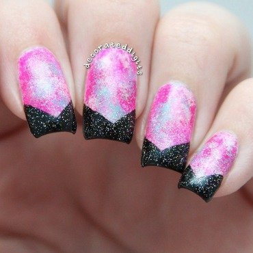 Bright pink galaxy nail art by Jordan