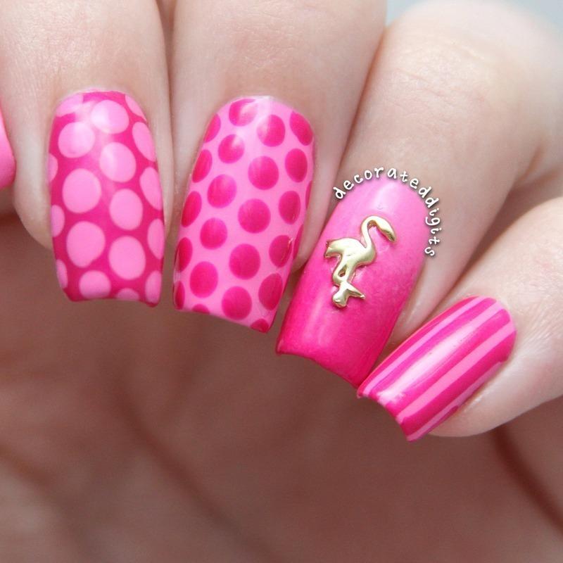 Pink flamingo  nail art by Jordan