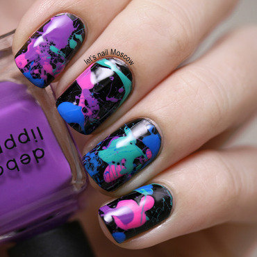 splatter nails inspired by the 80's nail art by Let's Nail Moscow