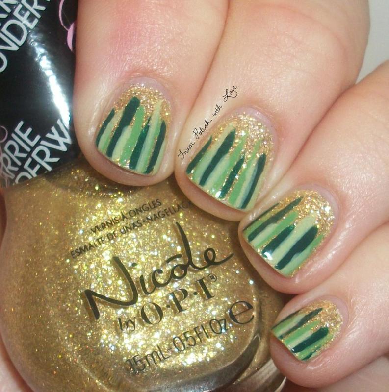 St. Patrick's Day Waterfall nail art by Dani