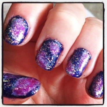 Galaxy nails first attempt  nail art by Kathleen