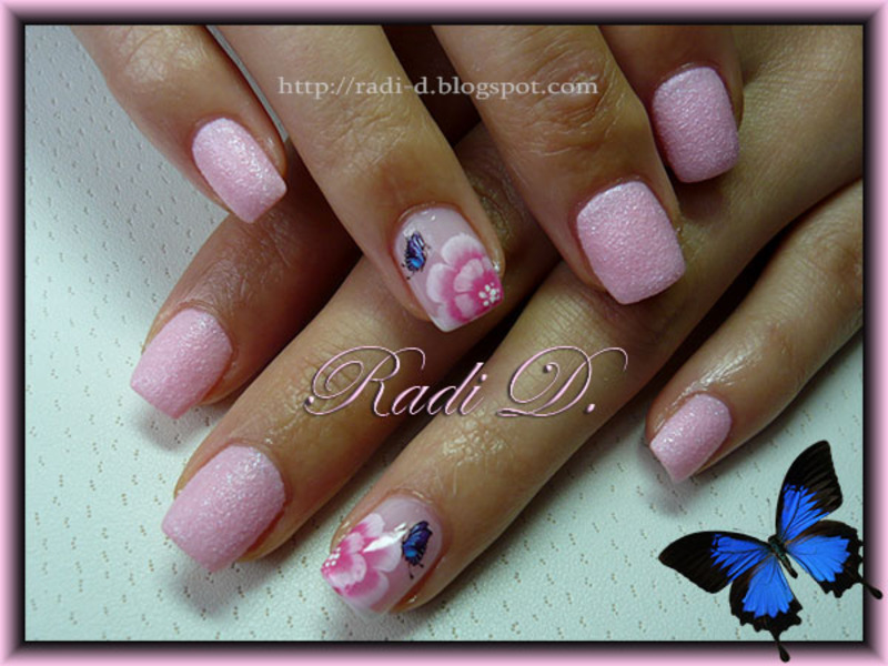 One Stroke Flowers Butterflies Nail Art By Radi Dimitrova