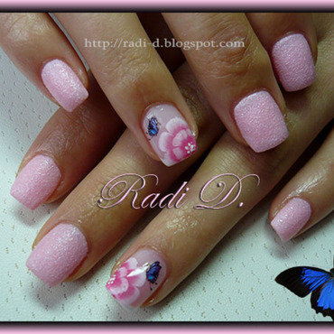 One Stroke Flowers & Butterflies nail art by Radi Dimitrova