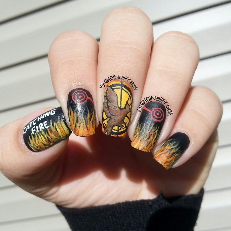 The Hunger Games: Catching Fire nail art by Selena  Lopez