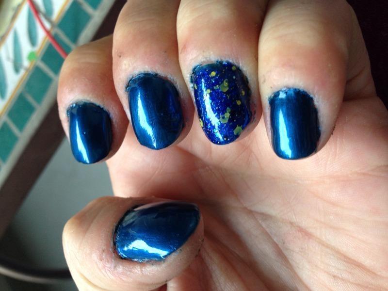 Blue mani nail art by Megan Lagerson