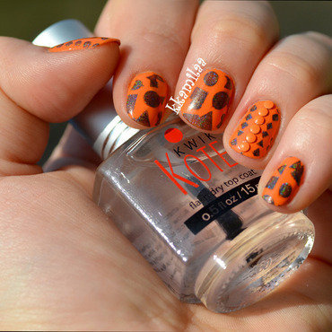 Orange, Stamps and Studs nail art by Kamila