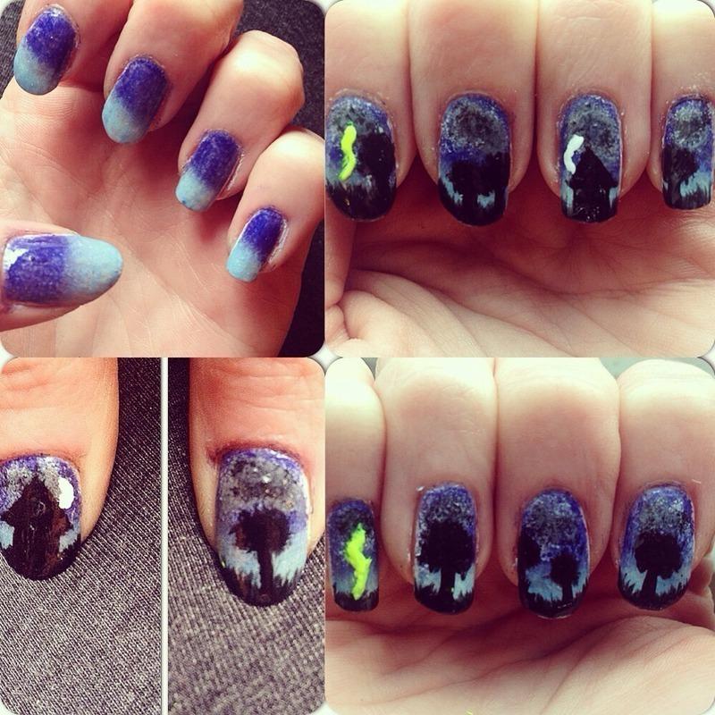 Rainy days  nail art by Kathleen