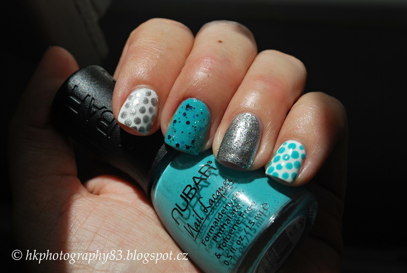 Tiffany silver and blue mani. nail art by Hana K.