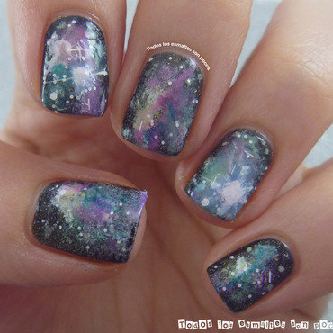 Galaxy nails nail art by Maria