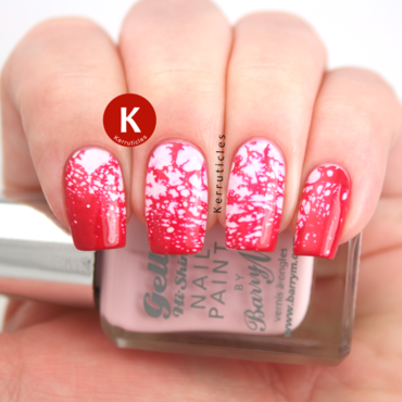 Pink water spotted nails nail art by Claire Kerr
