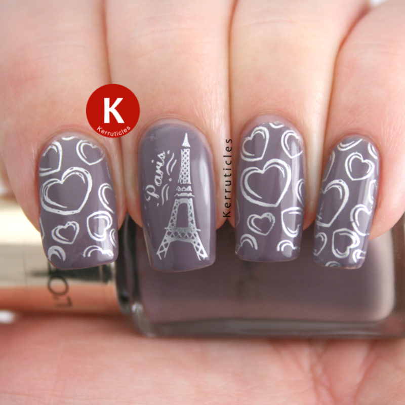 Paris Eiffel Tower and hearts stamping nail art by Claire Kerr ...