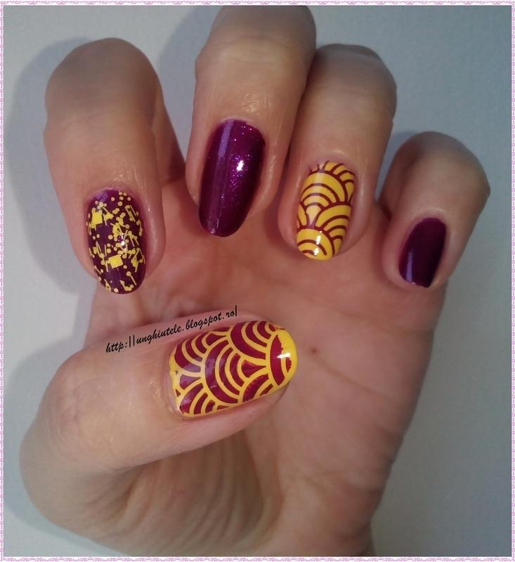 purple yellow and winstonia 111 nail art by Oana  Alexandru