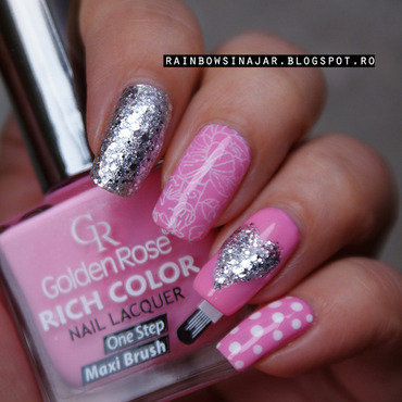 Love in pink and silver nail art by Georgiana