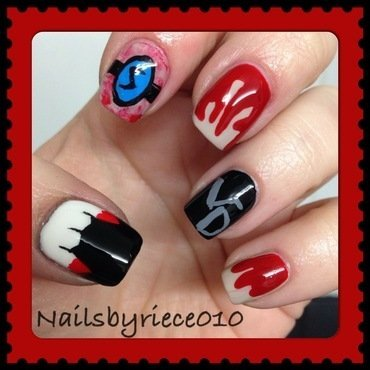 The Vampire Diaries nail art by Riece