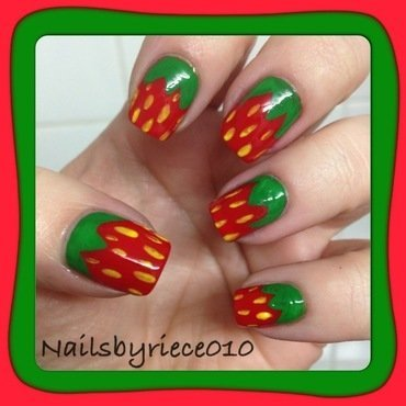 strawberries nail art by Riece
