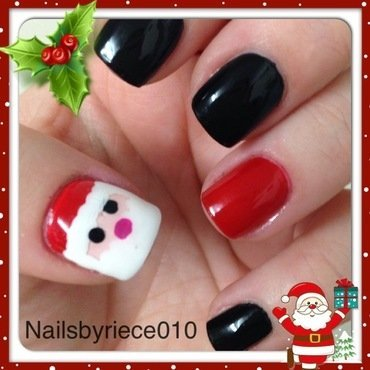 Christmas Santa nail art by Riece