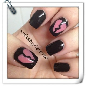 Broken Hearted nail art by Riece