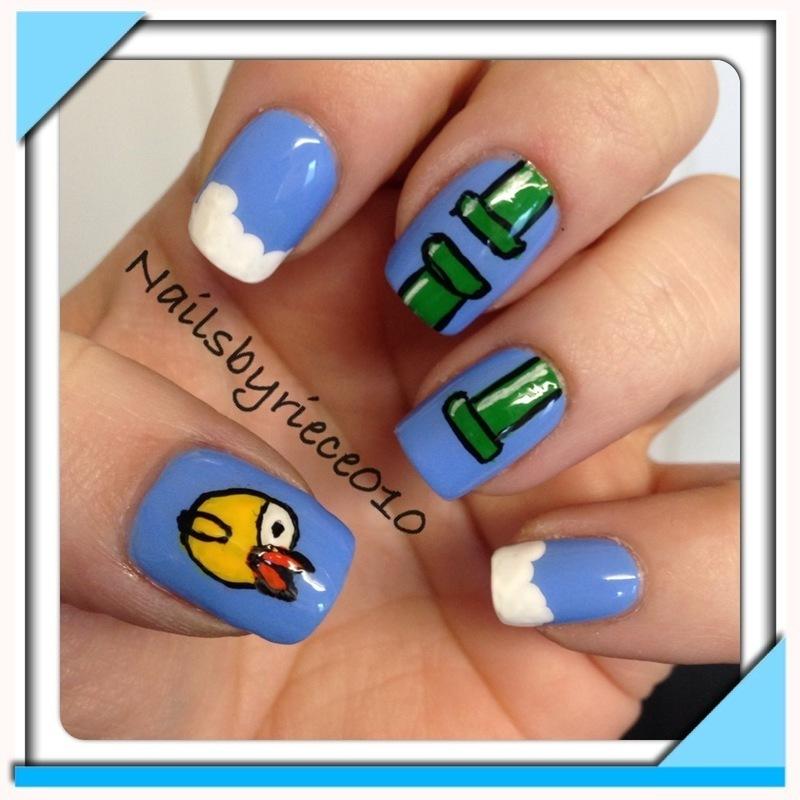 Flappy Bird nail art by Riece