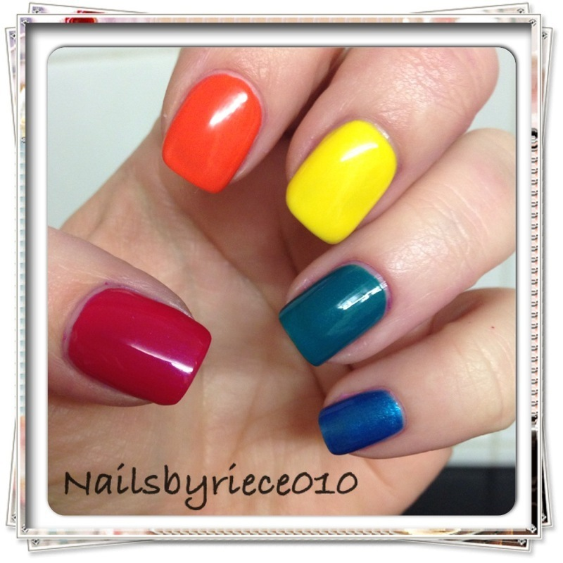 I love Rimmel double decker red, orange your life, sunshine, block your green, azure Swatch by Riece