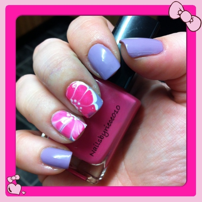 Water Marble flowers nail art by Riece