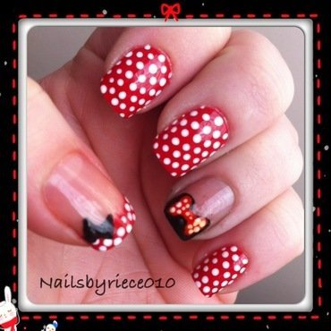 Minnie Mouse nail art by Riece