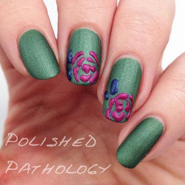 Embossed Roses nail art by J Pathology