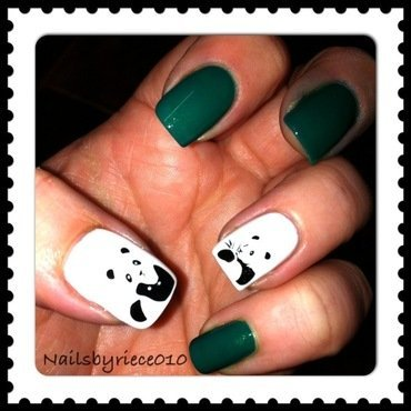 Pandas nail art by Riece