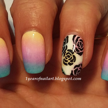 Gradient and roses nail art by Margriet Sijperda