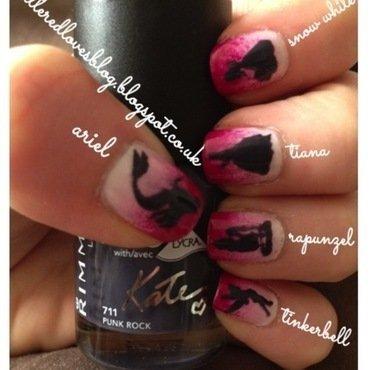 Disney Princess Nail Art with Homemade decals nail art by Kimberley