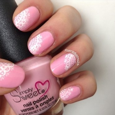 Dainty Doilies nail art by Shirley X.