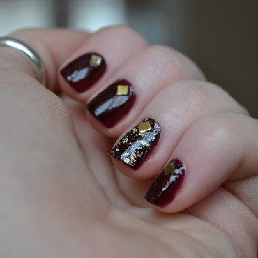 O.P.I Gold and Silver Topcoat with Studs nail art by Kimberley