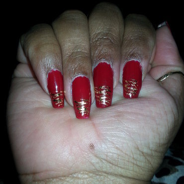 dragon red nail art by LisaB